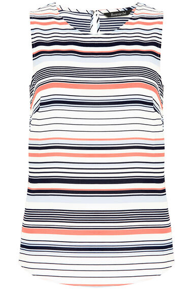 Sleeveless Stripe Print Crepe Top