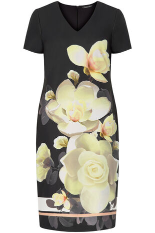 Floral Placement Print Shift Dress