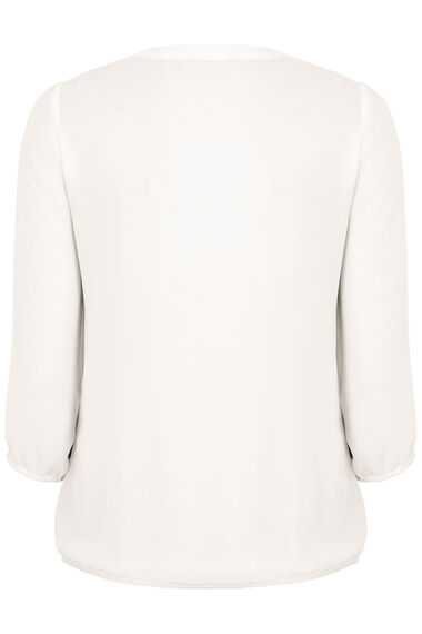 3/4 Sleeve Pleat Front Blouse