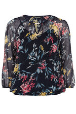 Hyacinth Print Blouse with Metal Trim