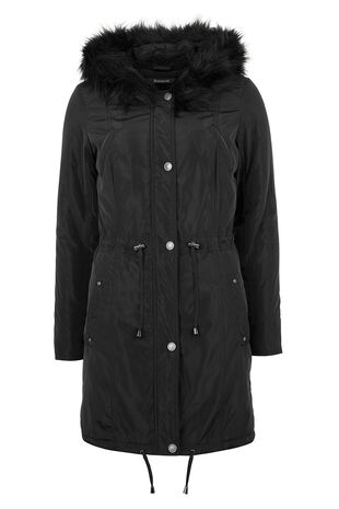 Faux Fur Trimmed Parka Coat