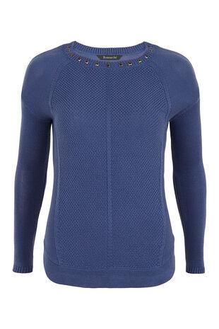 Curve Hem Stud Sweater
