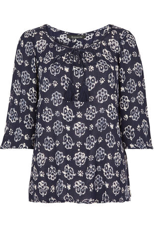 Tassel Detail Printed Top