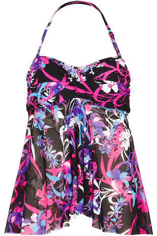 Trailing Flower Print Tankini Top
