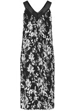 Mono Floral Crinkle Sleeveless Crochet Neck Dress