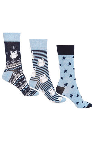 3 Pack Owl Printed Sock