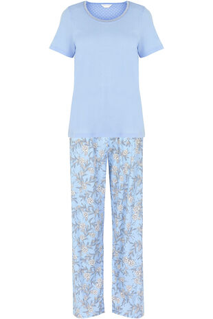 Blue Top Winter Floral Pant PJ