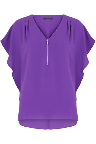 Plain Zip Front Blouse