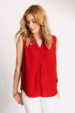 Plain Sleeveless Woven Crepe Blouse