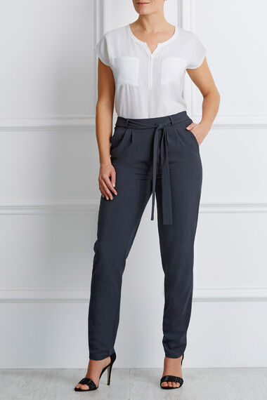Textured Tie Front Harem Trousers