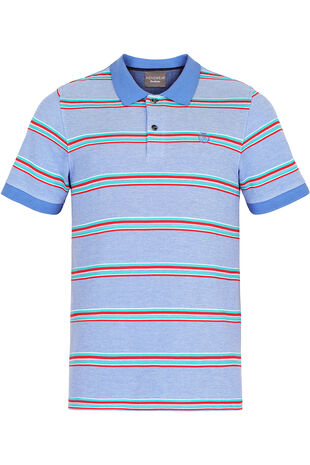 Pale Blue Jacquard Stripe Pique Polo
