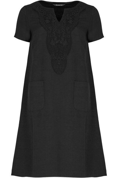 Crochet Trim Linen Mix Dress