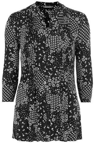 Ditsy Floral Print Pintuck Jersey Shirt