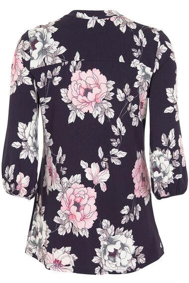 Floral Print Pintuck Jersey Blouse