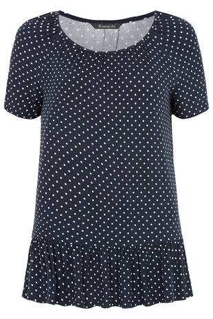 Spot Print Jersey Top With Peplum Hem