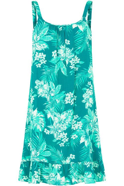 Tropical Print Beach Dress with Frill Hem