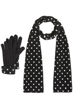 Spot Fleece Scarf And Gloves Set