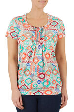 Ethnic Print Pleat Detail T-Shirt