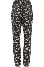 Palm Print Linen Blend Tapered Trousers