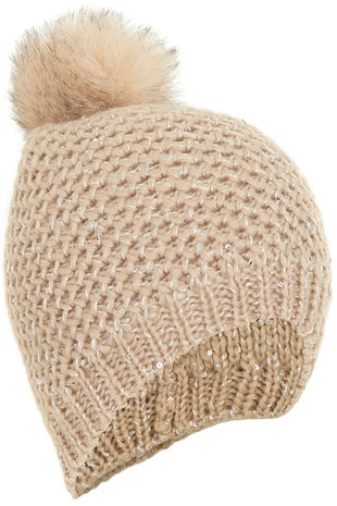 Knitted Hat With Sequins And Fur Pom Pom