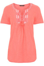 Embroidered Bib Tassle Tie T-Shirt