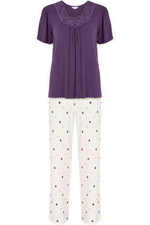 Lace Trim Top Spot Pant PJ