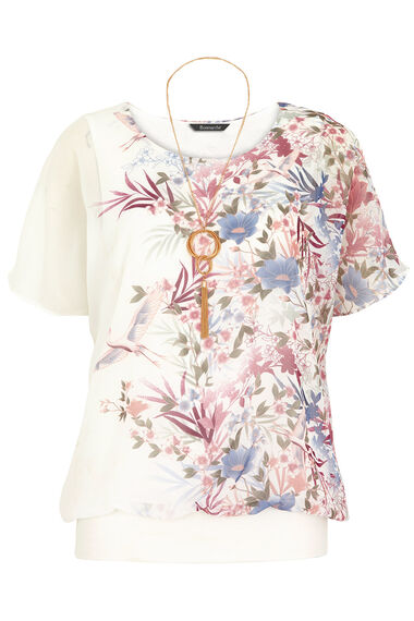 Oriental Print Blouson Top With Necklace
