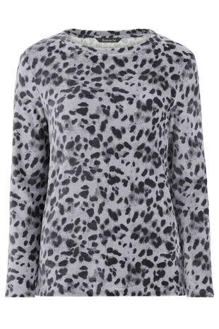 Animal Print Crew Neck Sweater Top