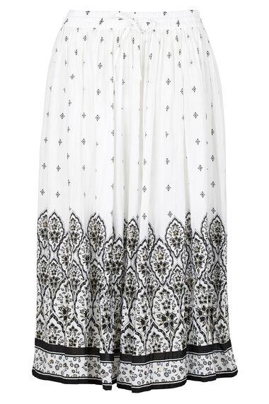 Border Print Crinkle Skirt