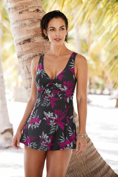 Textured Tie Front Swim Dress