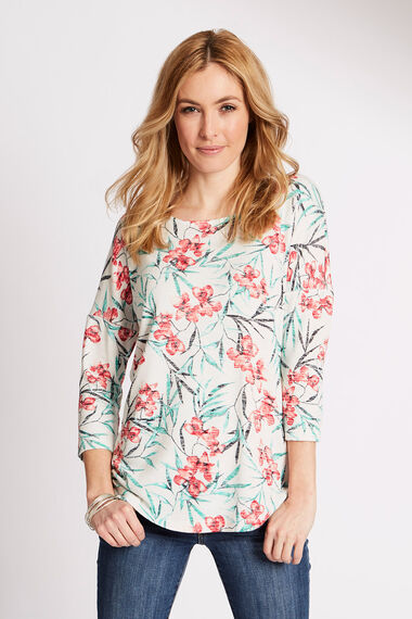 Oriental Orchid Print Knitted Top