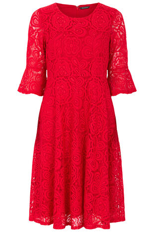 Flute Sleeve Lace Dress