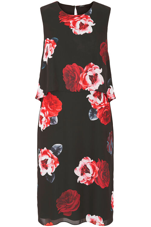 Magnolia Print Double Layer Dress