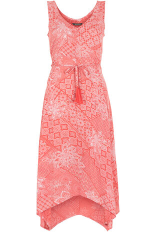 Tile Print Hanky Hem Day Dress