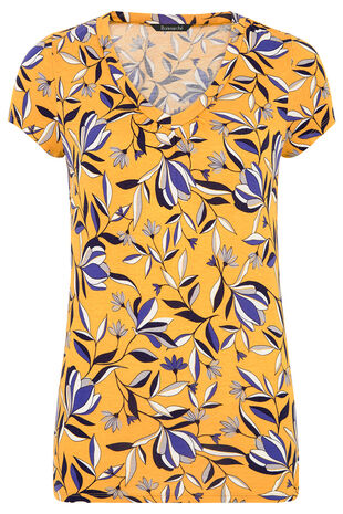 Spaced Floral Print V-Neck Top