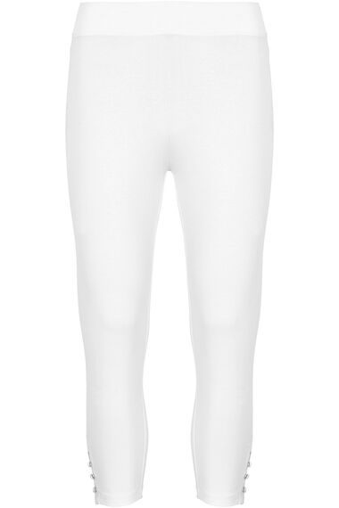 Cropped Button Hem Leggings