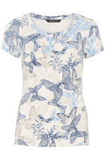 Butterfly Print Round Neck Top