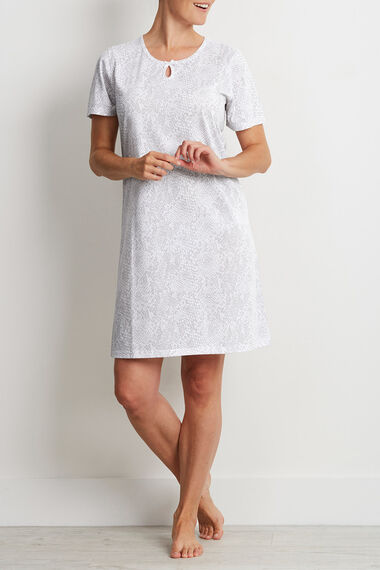 Grey Snake Print Keyhole Nightdress