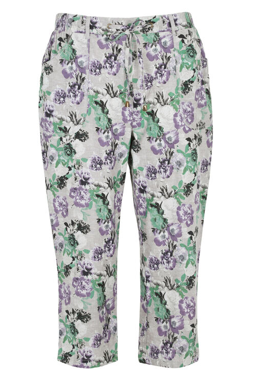Floral Print Linen Cropped Trousers