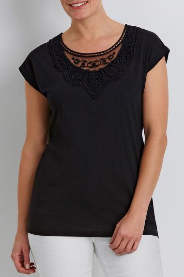 Mesh Lace Panel T-Shirt