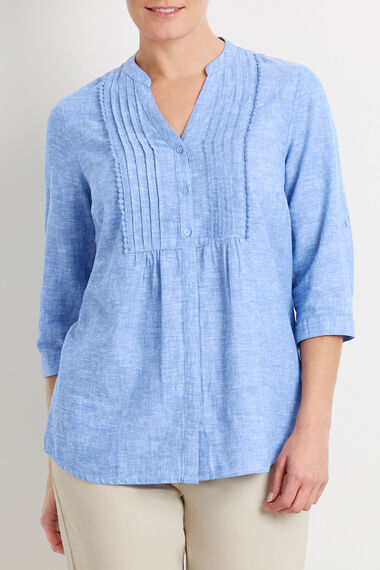 3/4 Sleeve Linen Mix Blouse