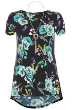 Floral Tunic Top with Necklace
