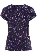 Spot Print V-Neck Short Sleeve Top