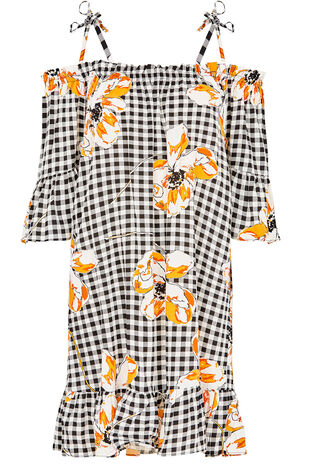 Gingham Poppy Print Bardot Beach Dress