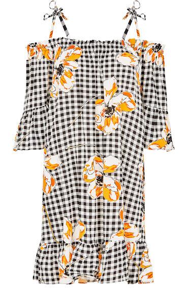 Gingham Poppy Print Bardot Beach Dress