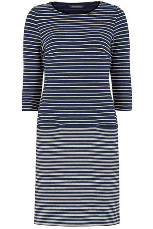3/4 Sleeve Textured Stripe Tunic