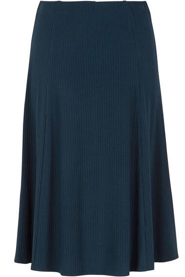 Navy Ribbed Panelled Skirt