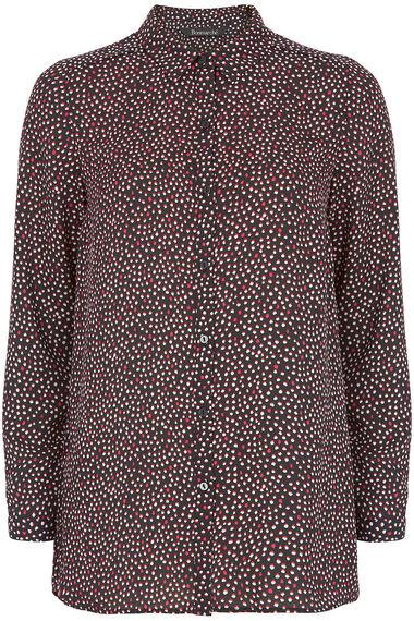 Longline Spot Print Button Through Shirt