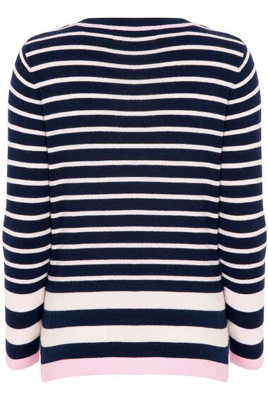 Navy striped V Neck Jumper