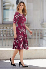 Vintage Floral Jersey Fit And Flare Dress
